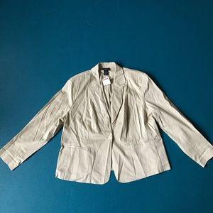 Rafaella blazer 18W NWT light tan with pin stripes